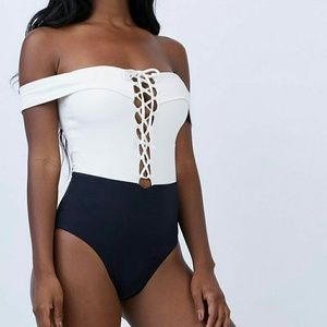 NWT l*space Anja off shoulder one-piece